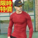 健身緊身衣長袖(上衣)-彈力透氣吸濕重訓男運動服5色64ag11【時尚巴黎】