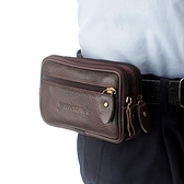 手機包男士穿皮帶小腰包多功能中年橫款小包老人手機包包  喜迎新春