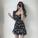 雪紡洋裝 韓系碎花荷葉邊露肩連身裙 花漾小姐【預購】
