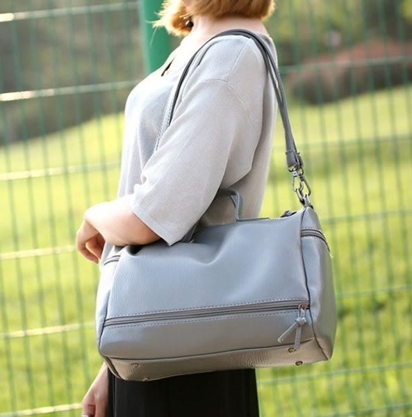 預購-韓版簡約水洗皮革肩背手提包