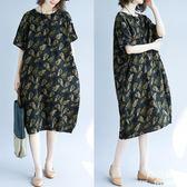 長裙 洋裝 加大尺碼 女裝民族風MM夏季新款寬鬆顯瘦藏肉百搭棉麻連衣裙子