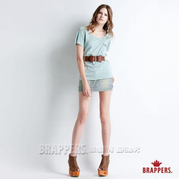 BRAPPERS 女款 愛心貼片短袖上衣-湖水藍