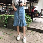中長款高腰半身裙女夏季氣質顯瘦不規則牛仔包臀魚尾裙子 星辰小鋪