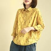純棉襯衫 印花長袖襯衫 韓版翻領上衣 白襯衫/2色 -夢想家-0214