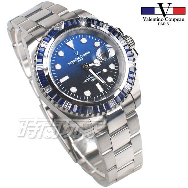 valentino coupeau范倫鐵諾 彩虹圈 方晶鋯石 不鏽鋼 防水手錶 男錶 潛水錶 水鬼 石英錶 V61589AAS-6