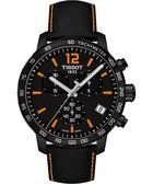 TISSOT 天梭 T-Sport Quickster 競速運動計時手錶-黑x橘/42mm T0954173605700