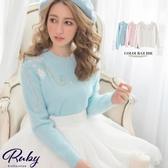 上衣 珍珠毛線花朵刺繡管珠針織長袖上衣-Ruby s 露比午茶