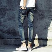 牛仔褲   夏裝新款男士牛仔褲水洗破洞牛仔褲男韓版修身小腳褲