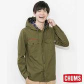 CHUMS 日本 男 兜帽童子軍長袖襯衫 綠 CH021049M001