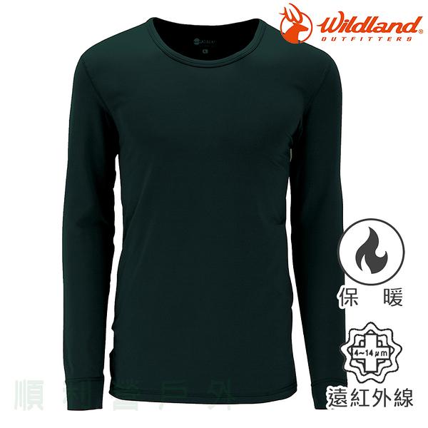 荒野WILDLAND 男款遠紅外線彈性保暖衣 W2656 深橄欖 衛生衣 內衣 發熱衣 OUTDOOR NICE
