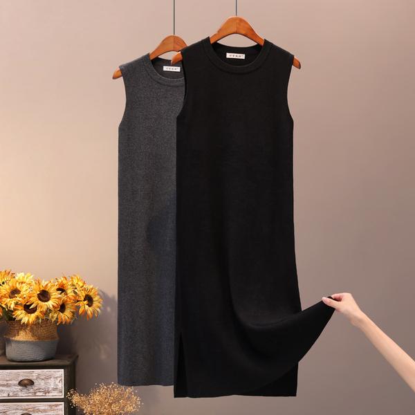 針織連身裙女秋冬新款百搭修身包臀裙中長款打底內搭黑色背心裙潮