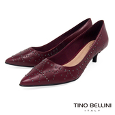 Tino Bellini巴西進口個性女力鉚釘跟鞋_暗紅 VI8511 歐洲進口款