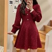 新年紅色連身裙女裝秋冬季內搭打底裙2021新款法式小香風爆款裙子 童趣屋 免運