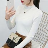 半高領白色毛衣女打底衫長袖套頭線衣秋冬新款短款修身緊身針織衫