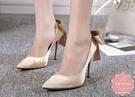 尖頭高跟鞋 綢緞細跟後蝴蝶結雅緻 晚宴鞋 新娘鞋 大尺碼35-40*Kwoomi-A62