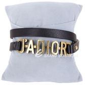 Dior J'ADIOR 復古鍍金小牛皮雙圈手環/頸鍊(黑色) 1840403-01