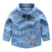 男童牛仔衣襯衫春裝春秋童裝襯衣寶寶兒童小童1歲3上衣0帥氣U6280