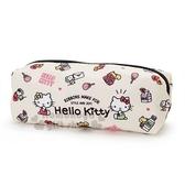 〔小禮堂〕Hello Kitty 尼龍拉鍊筆袋《米黃.姊妹.牛奶》收納袋.化妝包.鉛筆盒 4901610-44384