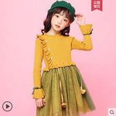 秋裝女童洋裝針織兒童秋冬款毛衣秋款小女孩洋氣公主裙加絨裙子 夢幻衣都
