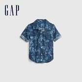 Gap男幼童 亞麻混紡輕薄短袖襯衫 681437-深藍花紋