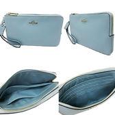 【COACH】立體馬車 LOGO皮革雙層手拿零錢包長夾-大款(水藍)