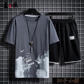 短袖T恤/套裝男短褲休閒套裝男T恤韓版印花男士兩件套運動套【全館免運】