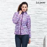女式超輕印花羽絨服-時尚設計款輕羽絨短版外套(紅紫印花)