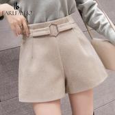 毛呢短褲裙打底靴褲子外穿寬鬆秋冬季女裝新款高腰冬天潮流行 新年禮物