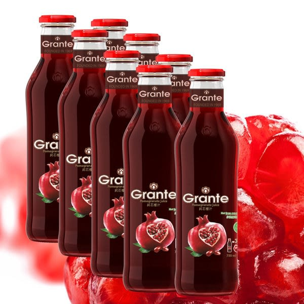 年節快閃優惠價【Grante】100%純天然紅石榴汁(750ml/8入) 特價1800元