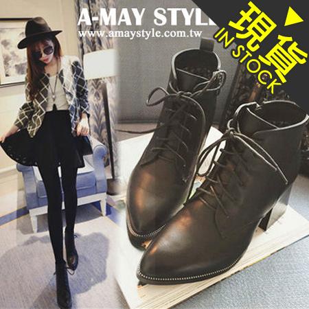 現貨-短靴-歐美名伶粗跟馬丁靴