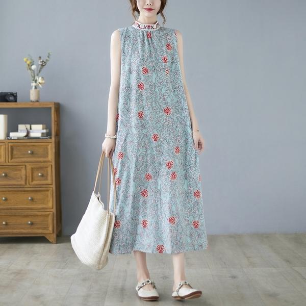 中大尺碼 無袖洋裝 復古文藝寬鬆印花連身裙大碼女裝遮肚子顯瘦休閒氣質減齡無袖長裙