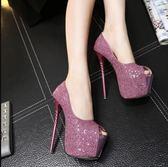 恨天高 新上市17cm高跟鞋超細跟性感夜店淺口粉色閃亮片18cm16cm20cm