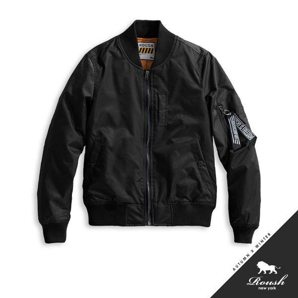 【Roush】 女生MA-1黑色織帶鋪棉飛行外套 -【715622】