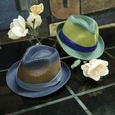 邪惡先生 漸變色草編爵士帽子韓國秋季沙灘小禮帽男女海邊度假帽
