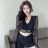 黑色蕾絲衫女夏季氣質網紗罩衫長袖性感薄款短款打底雪紡小衫上衣