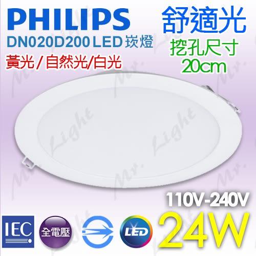【有燈氏】PHILIPS 飛利浦 24W LED 平板崁燈 20公分 20cm 黃 白 自然光【DN020D200】