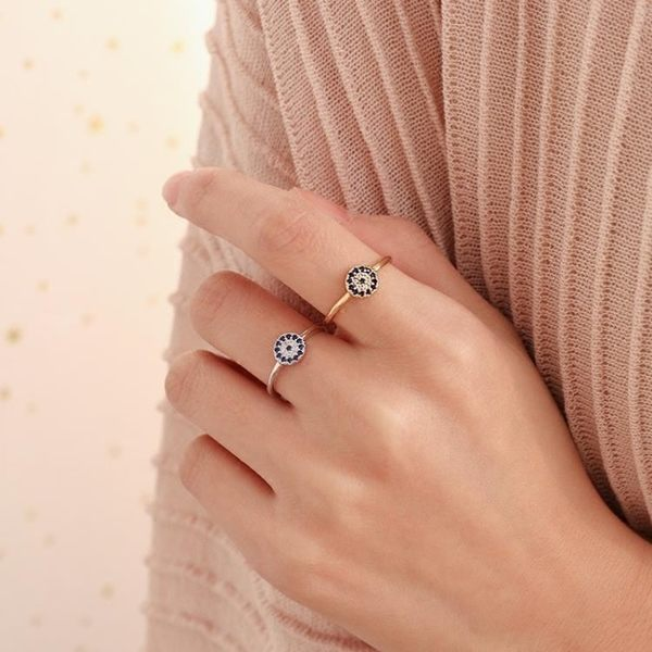 925純銀惡魔之眼復古精致戒指小巧氣質土耳其飾品開口戒