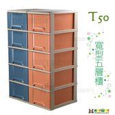 【九元生活百貨】聯府 T50寬型置物櫃/175L 附輪收納櫃 五層櫃 5層櫃 抽屜櫃