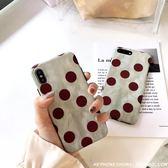 復古文藝酒紅波點iphoneXS Max XR手機殼網紅蘋果8/7PLUS簡約6S女 雙11購物節