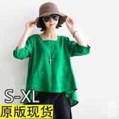 2020新款夏季棉麻女裝打底襯衫民族風文藝范大碼寬松休閒亞麻上衣