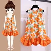 女童裙子夏天薄款洋氣寶寶裙碎花背心裙2021新款夏裝兒童洋裝夏