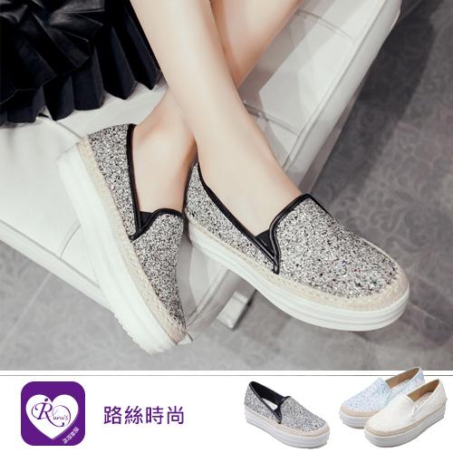 個性百搭編織亮面拼色增高鞋/3色/35-43碼 (RX1183-16-19) iRurus 路絲時尚