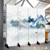 屏風隔斷客廳簡約現代中式裝飾墻酒吧辦公室布藝移動實木玄關折屏QM  晴光小語
