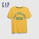 Gap男童 Logo創意圓領短袖T恤 573666-淡黃色