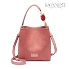 側背包 浪漫莫蘭迪粉麂皮絨水桶包-La Poupee樂芙比質感包飾 (預購+好禮)
