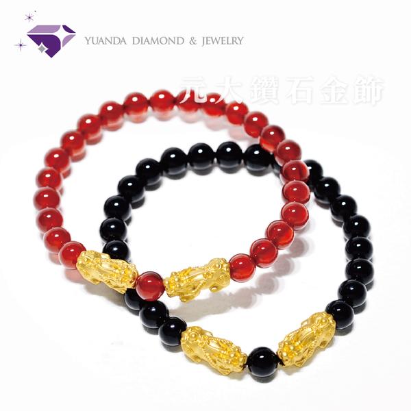 【元大珠寶】黃金招財雙貔貅串珠手鍊 紅/黑瑪瑙兩款任選-純金9999國家標準