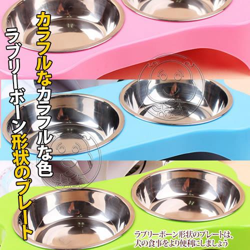 【zoo寵物商城】dyy》骨形輕便不銹鋼雙碗食盆餐桌多色可選/組