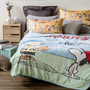 HOLA 史努比 Snoopy 系列 印花法蘭絨毯束口袋組 棒球款