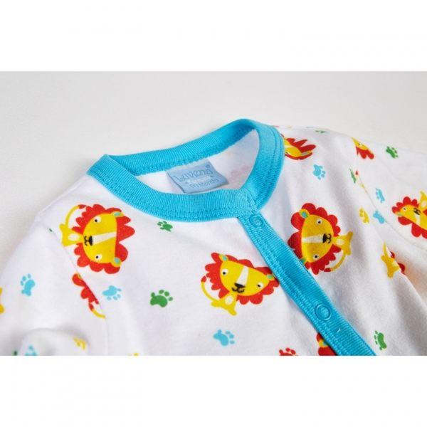 彌月禮 Luvena Fortuna 長袖包腳連身裝 網袋6件組 - 藍橘小獅子 H9581