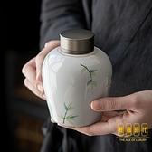 手繪茶葉罐密封罐家用中號陶瓷復古茶罐便攜存茶罐【輕奢時代】